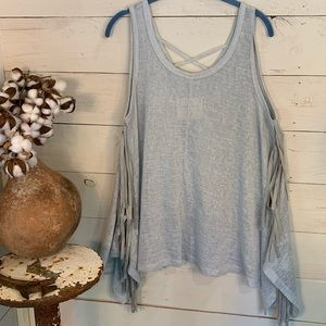By Together Sleeveless Shark Bite Fringe Top